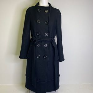 Kate Spade Black Wool Belted Button Down Coat 8